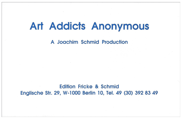 Joachim Schmid - AAA Art Addicts Anonymous
